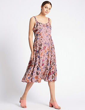 Romantic Floral Print Slip Dress, PALE PINK MIX, catlanding