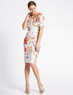 Floral Print Drape Neck Shift Dress, IVORY MIX, catlanding