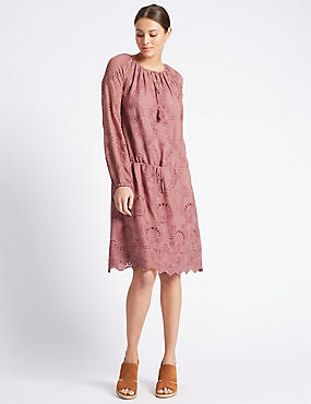 Lace Long Sleeve Shift Dress, PALE PINK, catlanding