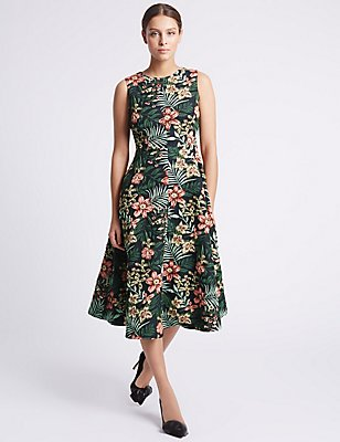 Floral Print Jacquard Skater Dress, GREEN MIX, catlanding