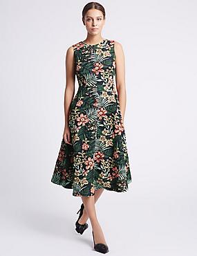 Floral Print Jacquard Skater Dress, GREEN MIX, catlanding