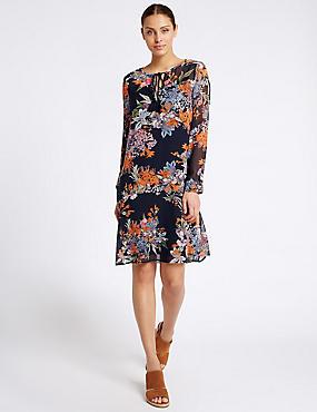Vestido recto de manga larga con estampado floral, MEZCLA DE TONOS NARANJAS, catlanding