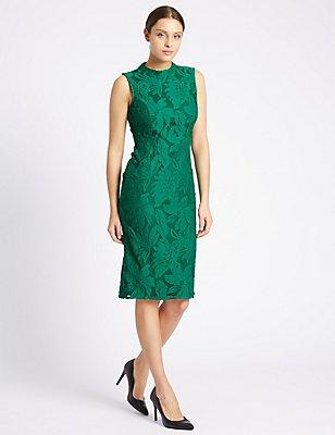 Cotton Rich Floral Lace Bodycon Dress, GREEN, catlanding
