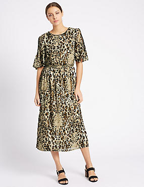 Animal Print Cold Shoulder Shift Dress, BLACK MIX, catlanding