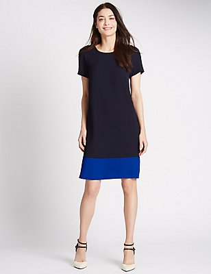 Colour Block Short Sleeve Shift Dress, NAVY MIX, catlanding