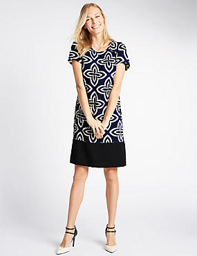Printed Short Sleeve Tunic, MULTI, catlanding