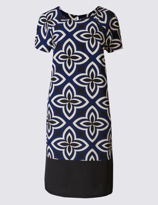 Платье-туника в цветочный орнамент с коротким рукавом M&S Collection T423189