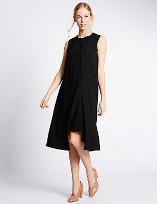 Split Front Sleeveless Shift Dress, BLACK, catlanding
