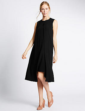 Split Front Sleeveless Shift Dress, BLACK, catlanding