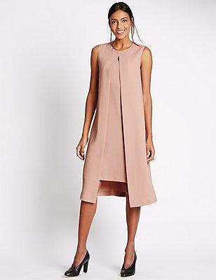Split Front Sleeveless Shift Dress, BLUSH, catlanding
