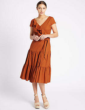 Cotton Rich Ruffle Midi Dress with Belt, RUST, catlanding
