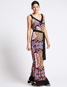 Printed Maxi Dress with Belt, BLACK MIX, catlanding