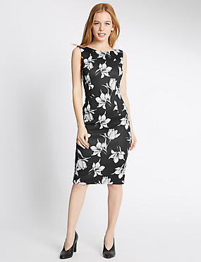 PETITE Printed Square Back Bodycon Dress, BLACK MIX, catlanding