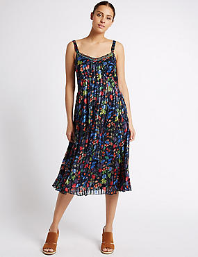 Floral Print Midi Dress, BLACK MIX, catlanding