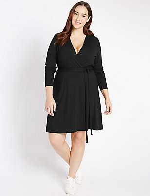 PLUS Wrap Long Sleeve Skater Dress, BLACK, catlanding