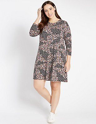 PLUS Patchwork Print Swing Dress , BLACK MIX, catlanding