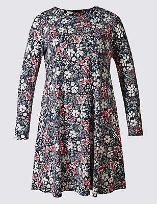 PLUS Floral Print Long Sleeve Swing Dress, BLUE MIX, catlanding