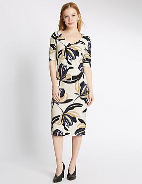 PETITE Floral Print Bodycon Dress, IVORY MIX, catlanding