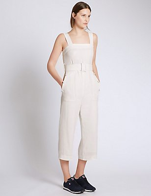 Sleeveless Jumpsuit with Belt, IVORY, catlanding
