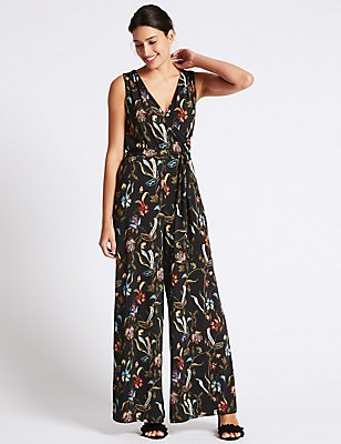 Floral Print Flared Jumpsuit with Belt, NAVY MIX, catlanding