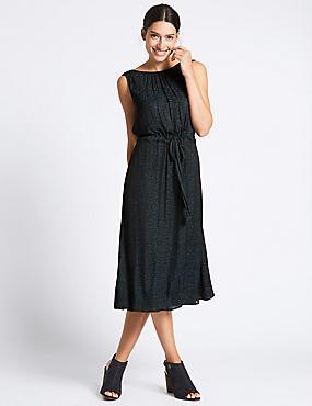 Shadow Animal Print Midi Dress, NAVY MIX, catlanding