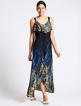 Floral Print Ruffle Maxi Dress, NAVY MIX, catlanding