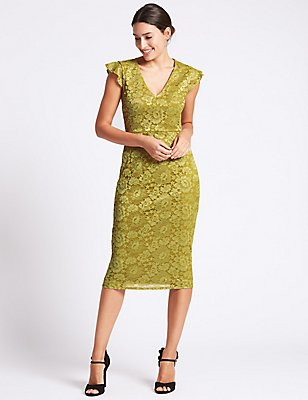 Floral Lace Cap Sleeve Bodycon Midi Dress , YELLOW, catlanding
