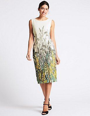 Floral Print Bodycon Midi Dress, IVORY MIX, catlanding