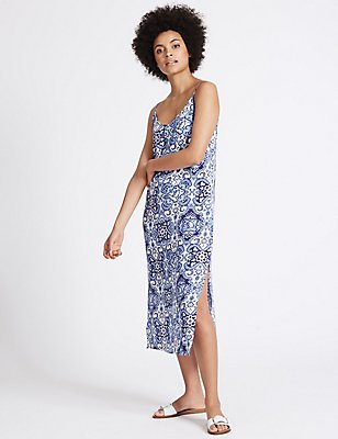 Tile Print Slip Midi Dress, BLUE MIX, catlanding
