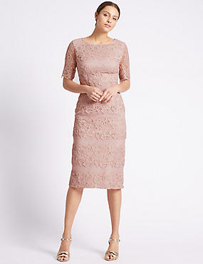 Cotton Rich Panelled Lace Shift Dress, BLUSH PINK, catlanding