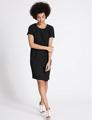 Woven Short Sleeve Tunic Dress, BLACK, catlanding