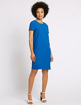 Raglan Short Sleeve Tunic Dress, DARK BLUE, catlanding