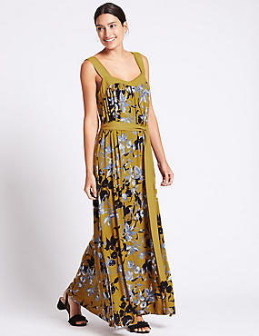 Floral Print Flared Side Split Maxi Dress, GREEN MIX, catlanding