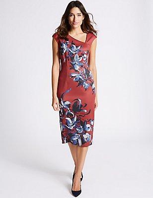 Floral Print Cap Sleeve Bodycon Midi Dress, LIPSTICK, catlanding