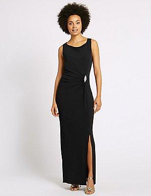 Jewelled Drape Waist Tie Back Maxi Dress, BLACK, catlanding