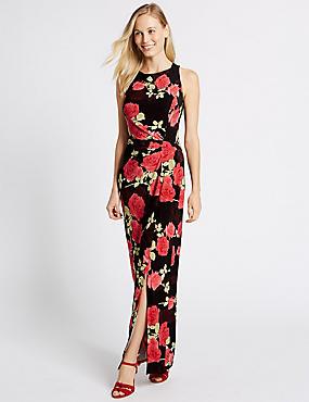 Floral Print Drape Waist Maxi Dress, BLACK, catlanding