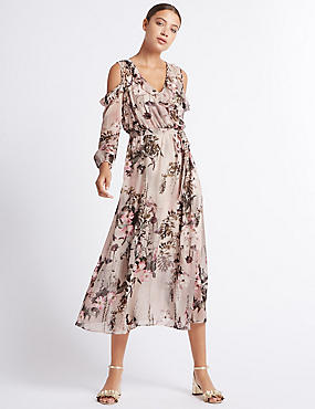 Floral Print Cold Shoulder Maxi Dress, BLUSH PINK, catlanding