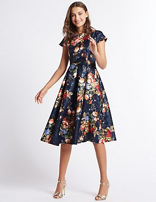 Rose Jacquard Print Skater Midi Dress, NAVY MIX, catlanding