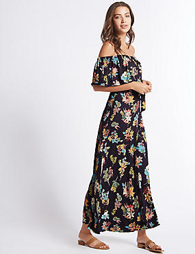 Floral Print Bardot Maxi Dress, NAVY MIX, catlanding