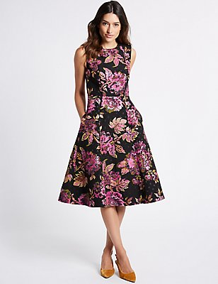 Floral Print Fuller Bust Skater Midi Dress  , BLACK MIX, catlanding