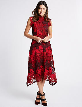 Lace Bodycon Midi Dress , MAGENTA MIX, catlanding