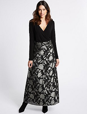Jacquard Wrap Flock Maxi Dress, BLACK MIX, catlanding