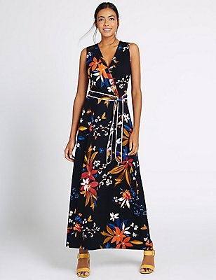 Floral Print Flare Maxi Dress with Belt, BLACK MIX, catlanding