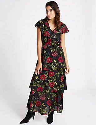 Embellished Floral Print Tiered Maxi Dress, BLACK MIX, catlanding
