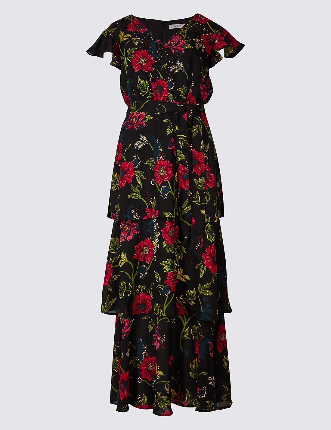 Per Una Black Dress Part - 24: Embellished Floral Print Tiered Maxi Dress · Per Una