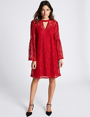 Floral Lace Flute Sleeve Shift Dress, , catlanding