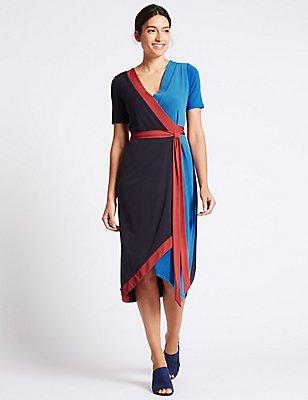 Colour Block Short Sleeve Wrap Midi Dress, NAVY MIX, catlanding