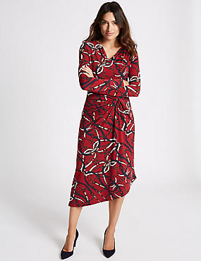 Chain Print Knot Front Bodycon Midi Dress, BURGUNDY MIX, catlanding