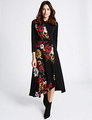 Floral Print 3/4 Sleeve Bodycon Midi Dress, BLACK MIX, catlanding