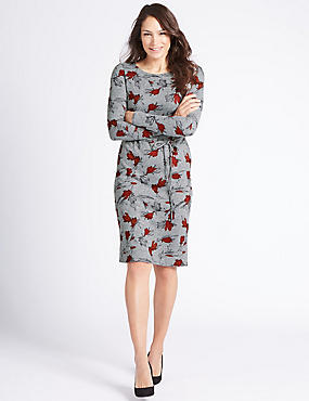 Printed Tunic Midi Dress with Belt, GREY MIX, catlanding